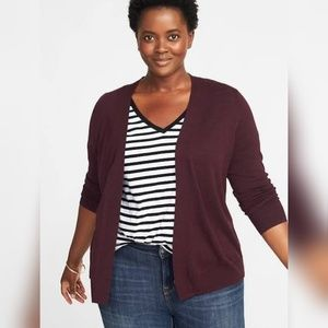 Old Navy open front short cardigan burgundy small